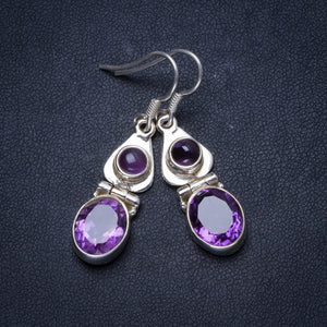 "Natural Amethyst Handmade Unique 925 Sterling Silver Earrings 1.5"" X3572"