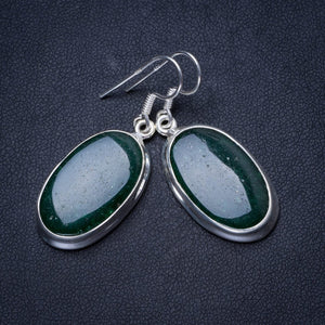 "Natural Green Aventurine Handmade Unique 925 Sterling Silver Earrings 1.5"" X3657"