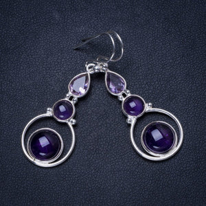 "Natural Amethyst Handmade Unique 925 Sterling Silver Earrings 1.75"" X3661"