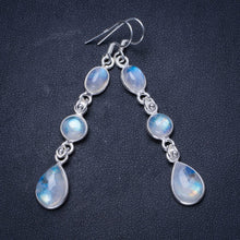 "Natural Rainbow Moonstone Handmade Unique 925 Sterling Silver Earrings 2.5"" X3668"