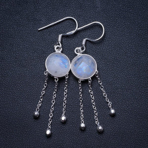 "Natural Moonstone Handmade Unique 925 Sterling Silver Earrings 2"" X3765"