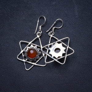 "Natural Carnelian Handmade Unique 925 Sterling Silver Earrings 1.5"" X3787"