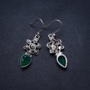 "Natural Chrysoprase Handmade Unique 925 Sterling Silver Earrings 1.5"" X3843"