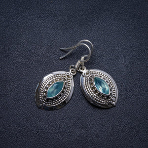 "Natural Blue Topaz Handmade Unique 925 Sterling Silver Earrings 1.5"" X3867"