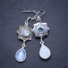 "Natural Rainbow Moonstone Handmade Unique 925 Sterling Silver Earrings 2.25"" X4120"