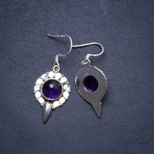 "Natural Amethyst Handmade Unique 925 Sterling Silver Earrings 1.75"" X4124"