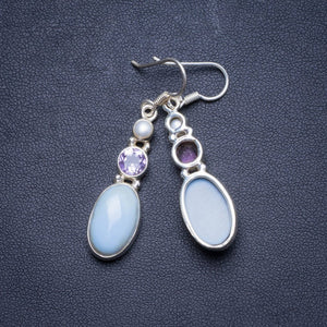 "Natural Owhyee Opal, Amethyst and River Pearl Handmade Unique 925 Sterling Silver Earrings 1.75"" X4153"