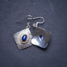 "Natural Two Tones Lapis Lazuli Handmade Unique 925 Sterling Silver Earrings 1.5"" X4188"