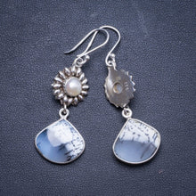 "Natural Dendritic Opal and River Pearl Handmade Unique 925 Sterling Silver Earrings 2"" X4215"