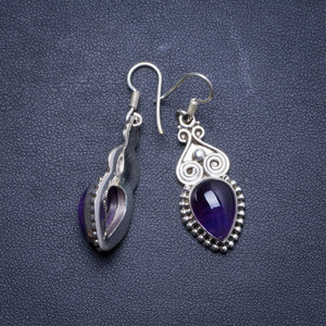 "Natural Amethyst Handmade Unique 925 Sterling Silver Earrings 1.75"" X4266"