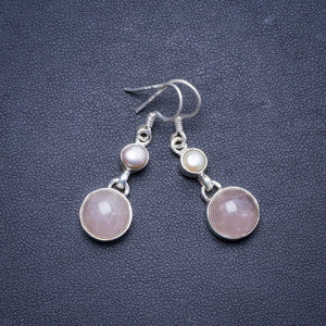 "Natural Rose Quartz and Biwa Pearl Handmade Unique 925 Sterling Silver Earrings 1.5"" X4282"