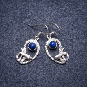 "Natural Lapis Lazuli Handmade Unique 925 Sterling Silver Earrings 1.75"" X4299"
