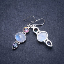"Natural Rainbow Moonstone and Rainbow Topaz Handmade Unique 925 Sterling Silver Earrings 1.75"" X4348"