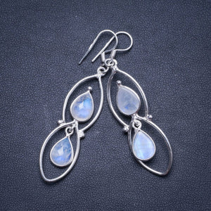 "Natural Rainbow Moonstone Handmade Unique 925 Sterling Silver Earrings 2.25"" X4353"