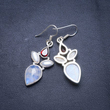 "Natural Rainbow Moonstone,Amethyst River Pearl Handmade Unique 925 Sterling Silver Earrings 1.75"" X4499"