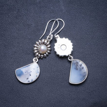 "Natural Dendritic Opal and River Pearl Handmade Unique 925 Sterling Silver Earrings 2"" X4523"