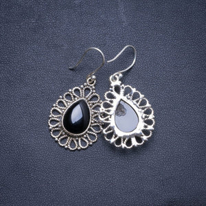 "Natural Black Onyx Handmade Unique 925 Sterling Silver Earrings 1.75"" X4546"