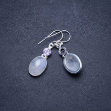 "Natural Rainbow Moonstone and Amethyst Handmade Unique 925 Sterling Silver Earrings 1.5"" X4559"
