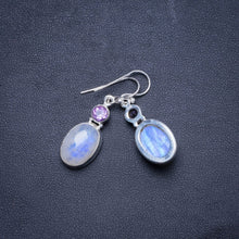 "Natural Rainbow Moonstone and Amethyst Handmade Unique 925 Sterling Silver Earrings 1.5"" X4569"