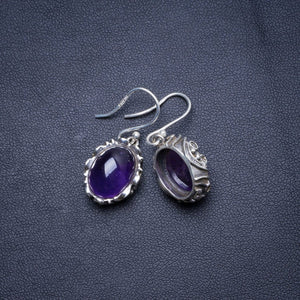 "Natural Amethyst Handmade Unique 925 Sterling Silver Earrings 1.25"" X4629"