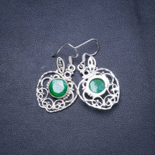 "Natural Emerald Handmade Unique 925 Sterling Silver Earrings 1.5"" X4665"