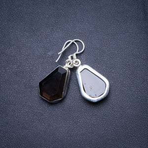 "Natural Smoky Quartz Handmade Unique 925 Sterling Silver Earrings 1.25"" X4677"