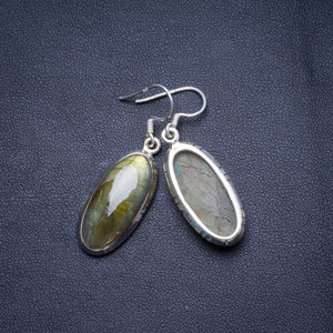 "Natural Blue Fire Labradorite Handmade Unique 925 Sterling Silver Earrings 1.75"" X4721"