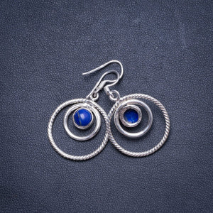 "Natural Lapis Lazuli  Handmade Unique 925 Sterling Silver Earrings 1.5"" X4736"