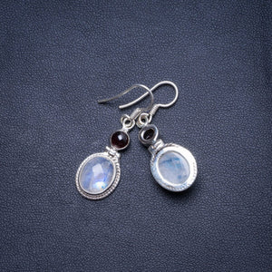 "Natural Rainbow Moonstone and Amethyst Handmade Unique 925 Sterling Silver Earrings 1.5"" X4759"