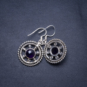 "Natural Amethyst Handmade Unique 925 Sterling Silver Earrings 1.5"" X4807"
