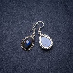 "Natural Blue Fire Labradorite Handmade Unique 925 Sterling Silver Earrings 1.25"" X4883"