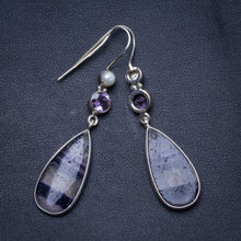 "Natural Fluorite,Amethyst and River Pearl Handmade Unique 925 Sterling Silver Earrings 2.25"" X4976"