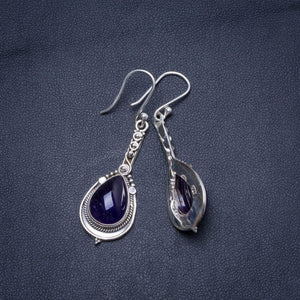 "Natural Amethyst Handmade Unique 925 Sterling Silver Earrings 2"" X5004"