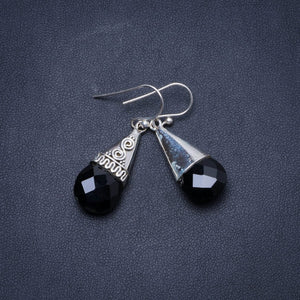 "Natural Black Onyx Handmade Unique 925 Sterling Silver Earrings 1.5"" X5044"