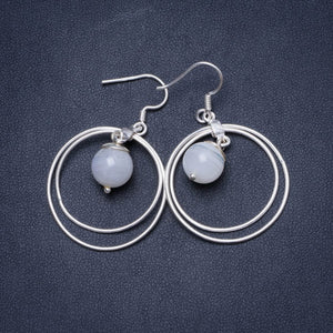 "Natural Moonstone Handmade Unique 925 Sterling Silver Earrings 1.75"" X5056"