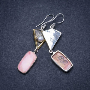 "Natural Two Tones Pink Spotted Jasper and River Pearl 925 Sterling Silver Earrings 2.25"" X5094"