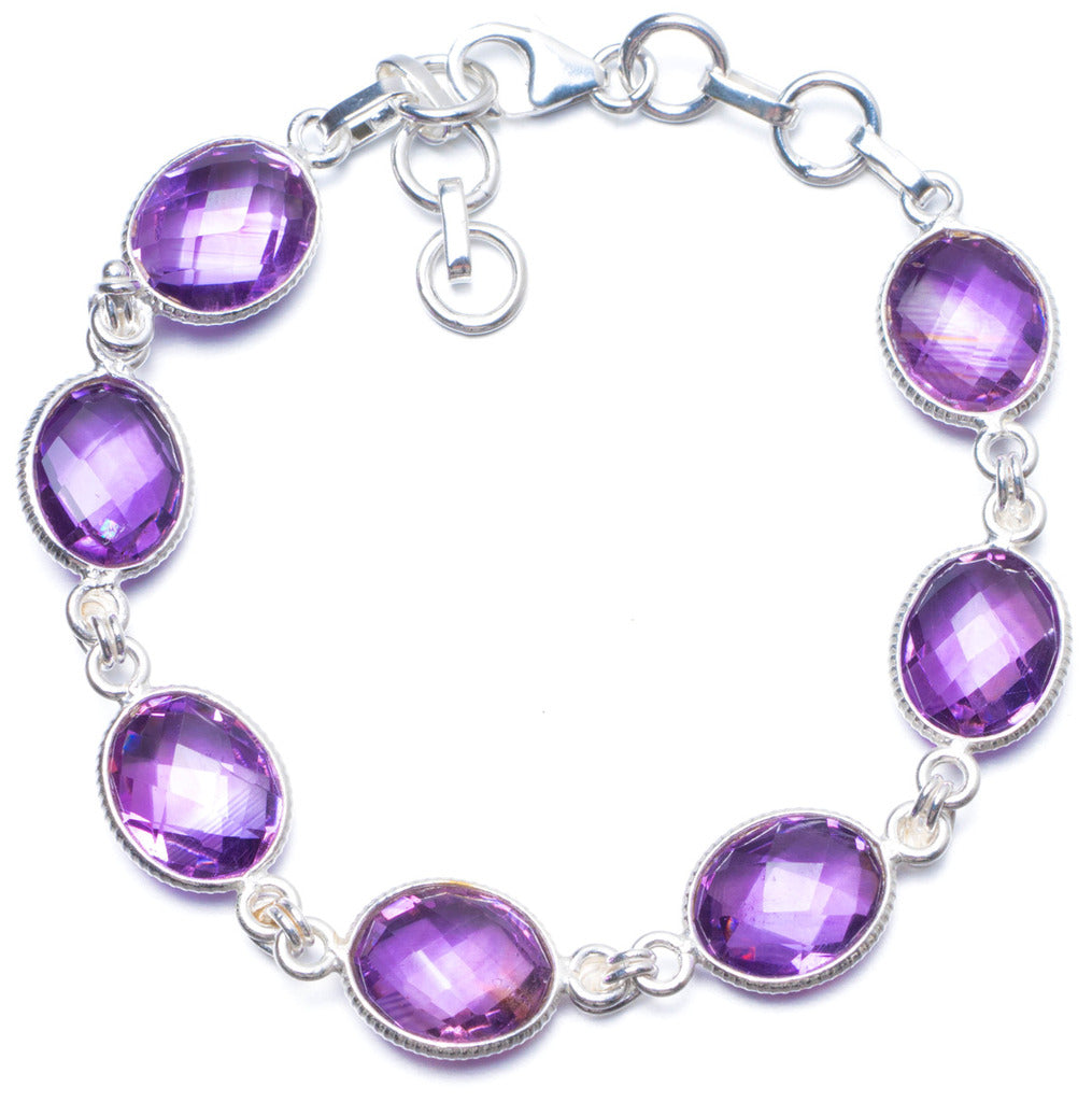 Natural Amethyst Handmade Unique 925 Sterling Silver Bracelet 7 1/4-8