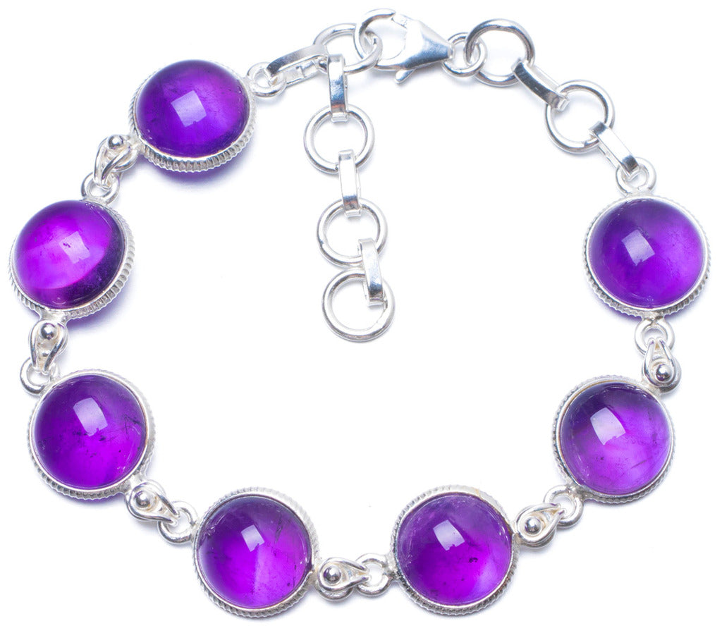 Natural Amethyst Handmade Unique 925 Sterling Silver Bracelet 7-8 1/4