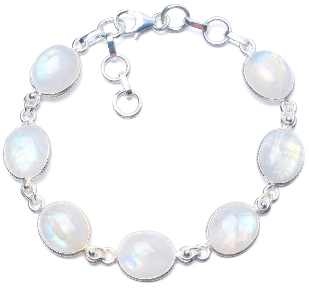 Natural Rainbow Moonstone Handmade Unique 925 Sterling Silver Bracelet 7 1/4-8