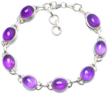 "Natural Amethyst Handmade Unique 925 Sterling Silver Bracelet 7 1/4-8"" Y0081"