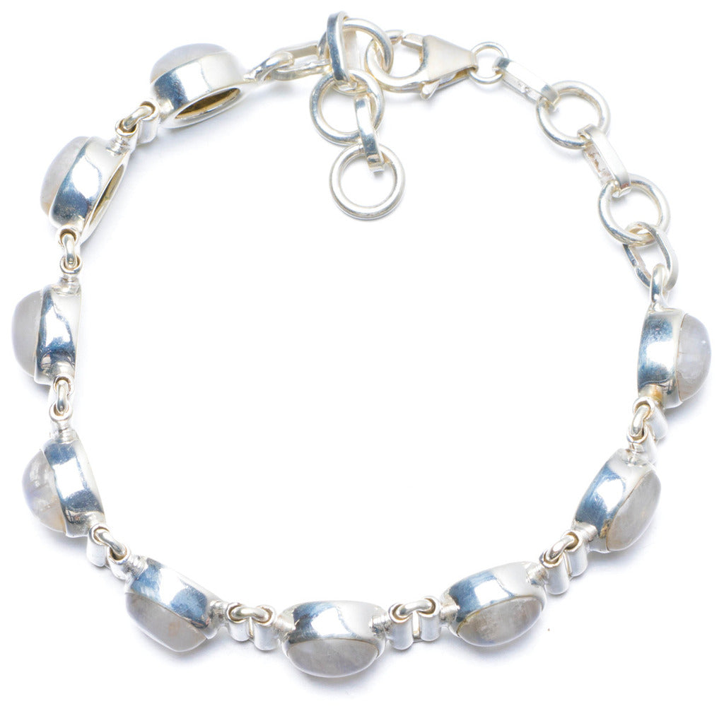 Natural Rainbow Moonstone Handmade Unique 925 Sterling Silver Bracelet 6 3/4-7 1/2