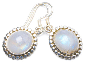"Natural Rainbow Moonstone Handmade Unique 925 Sterling Silver Earrings 1.25"" Y0190"