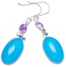 "Natural Chalcedony and Amethyst Handmade Unique 925 Sterling Silver Earrings 2"" Y0241"