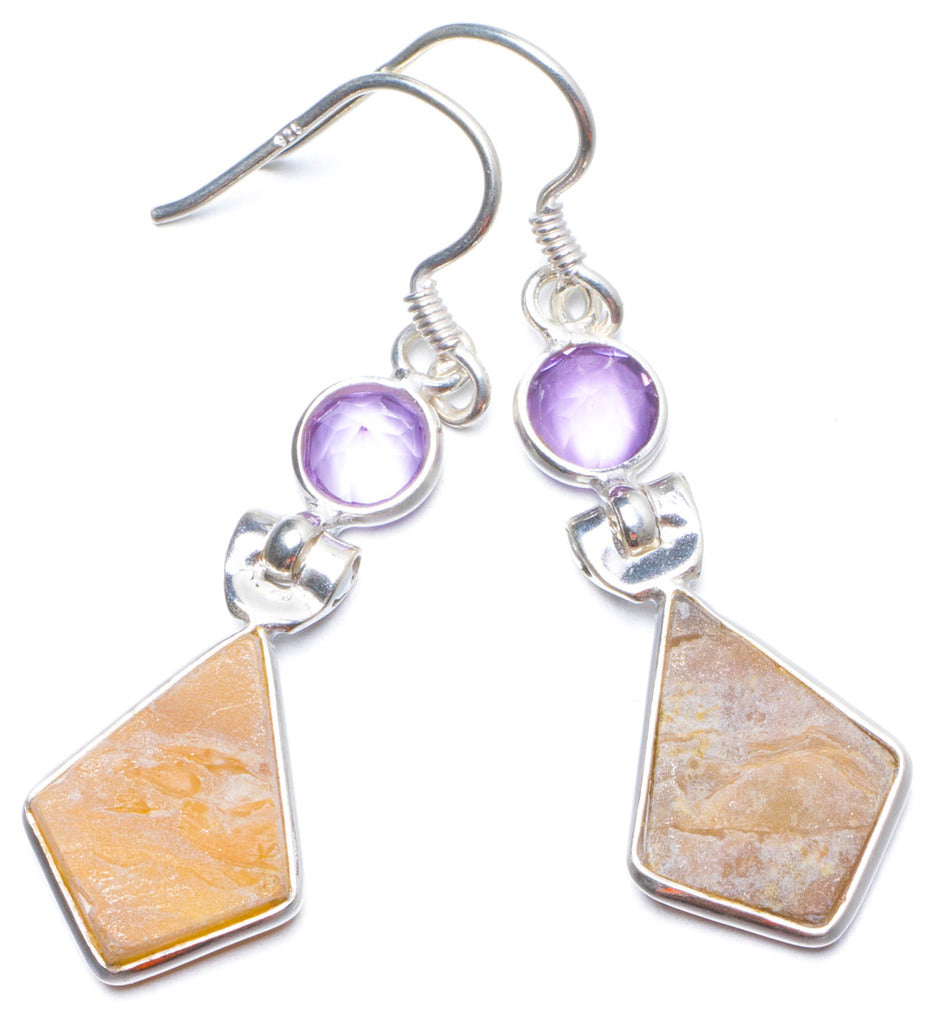 Natural Mother Of Pearl and Amethyst Handmade Unique 925 Sterling Silver Earrings 1.75