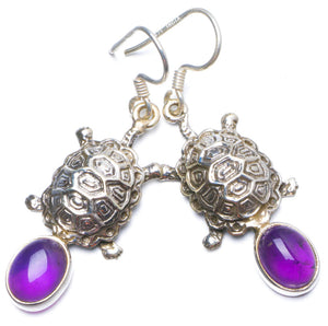 "Natural Amethyst Handmade Unique 925 Sterling Silver Earrings 1.75"" Y0244"