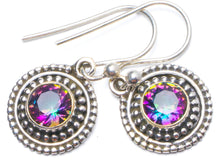 "Natural Mystical Topaz Handmade Unique 925 Sterling Silver Earrings 1"" Y0277"