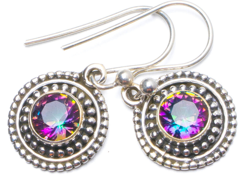 Natural Mystical Topaz Handmade Unique 925 Sterling Silver Earrings 1