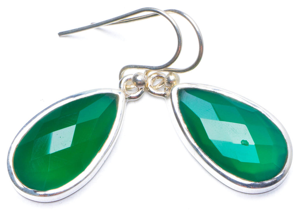 Natural Chrysoprase Handmade Unique 925 Sterling Silver Earrings 1.25
