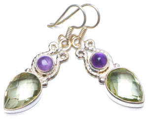 "Natural Green Amethyst and Amethyst Handmade Unique 925 Sterling Silver Earrings 1.5"" Y0296"