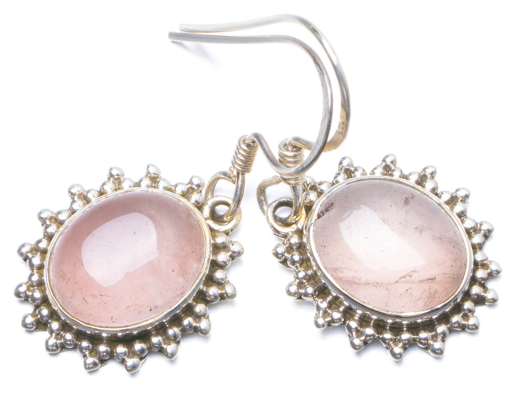 Natural Rose Quartz Handmade Unique 925 Sterling Silver Earrings 1.25